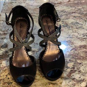 Black and crystal heels
